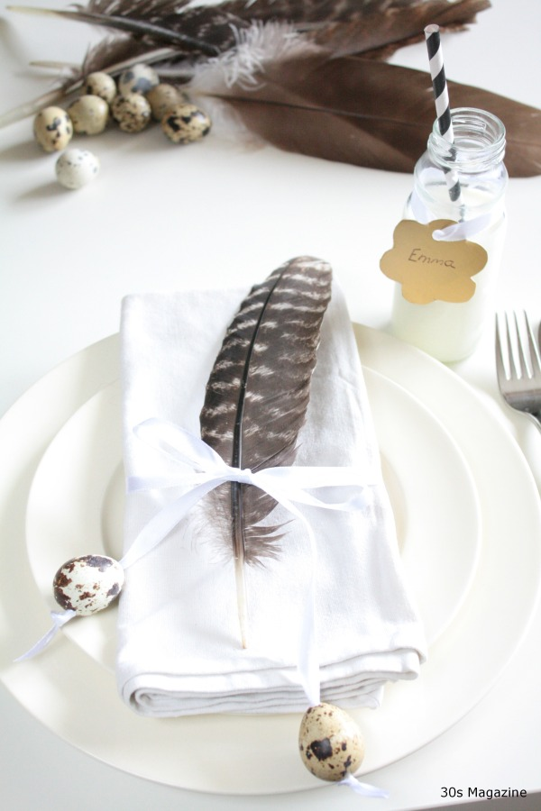 Easter place setting feather