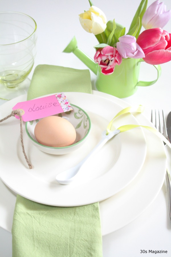 Green Easter table setting