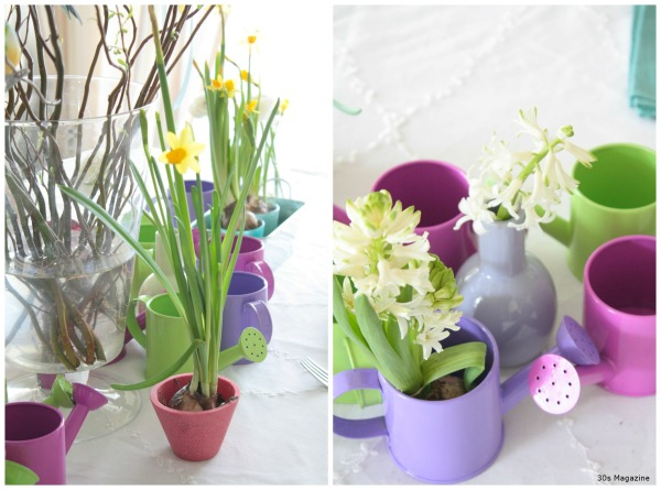 watering cans easter table