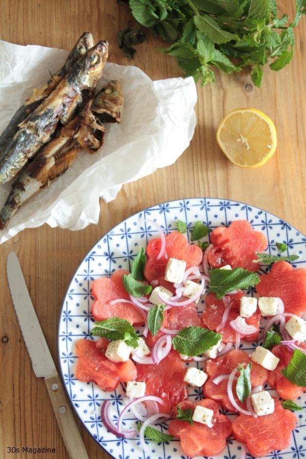 watermelon sardines and feta salad