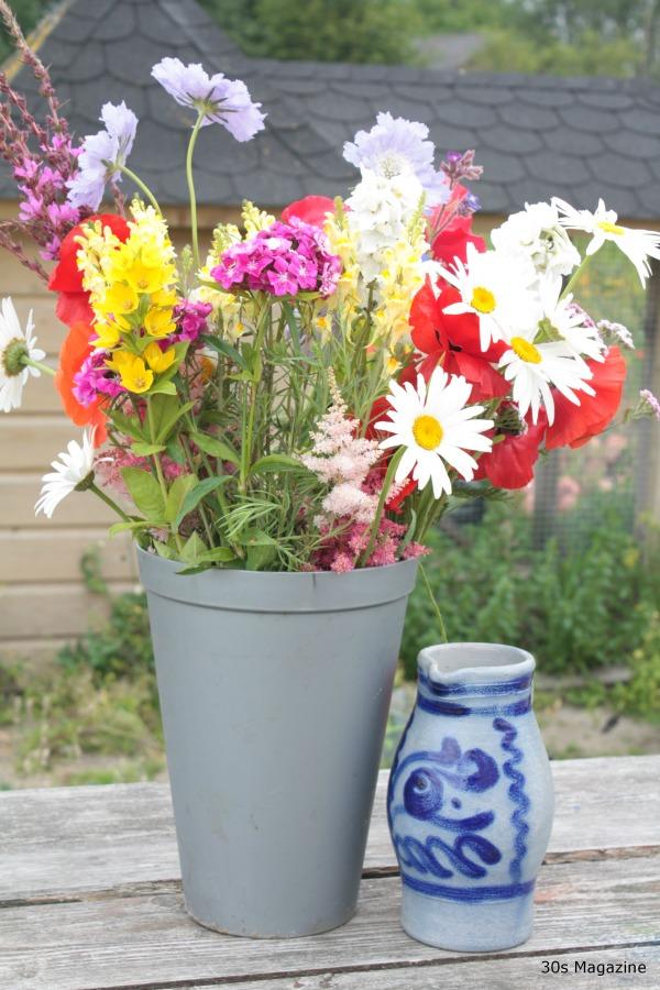 wild flowers in bucket