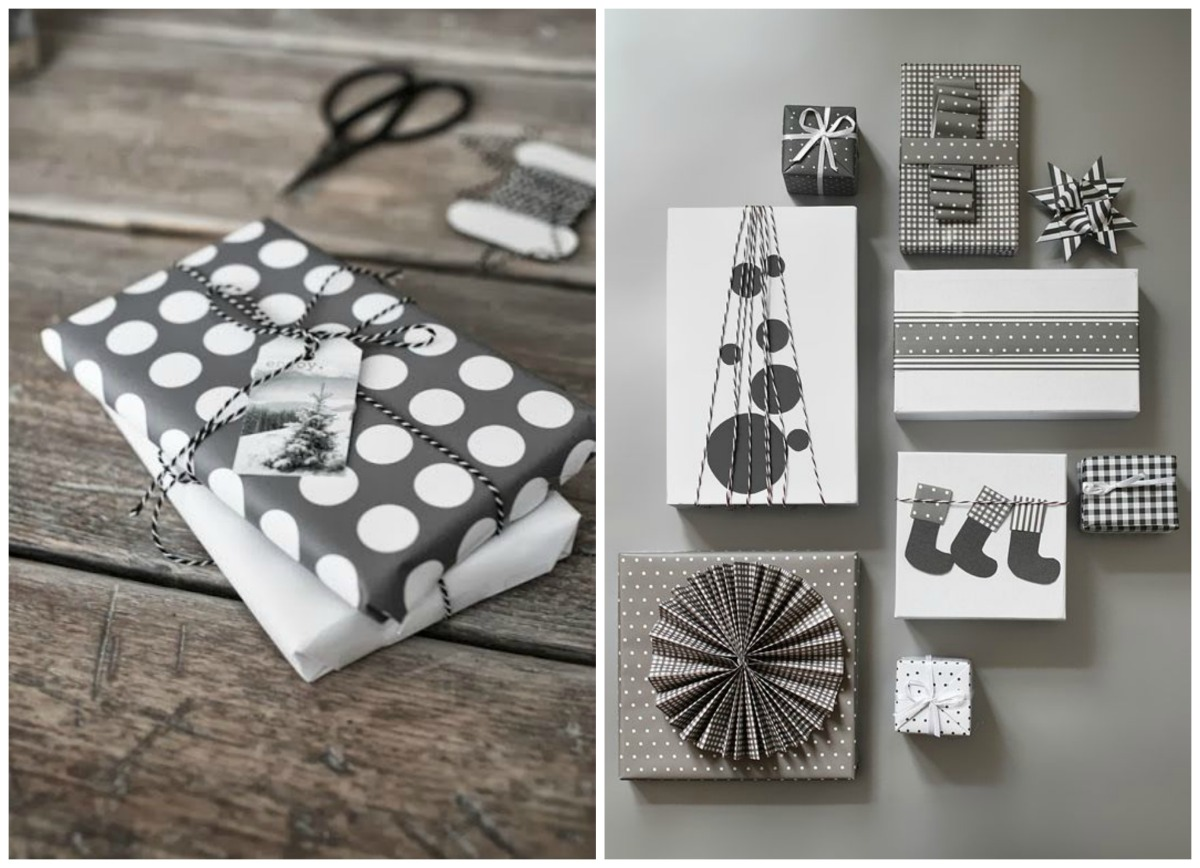 Black and white Christmas gift wrapping ideas