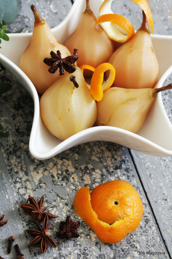 poached pears orange
