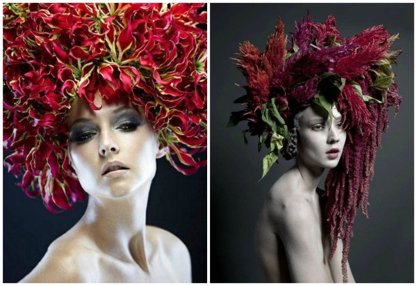 floral headpiece red