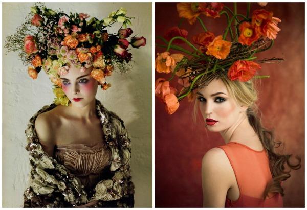 orange floral headpieces
