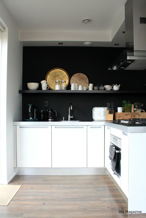 black kitchen wall