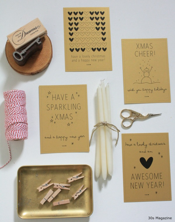 gold holiday greeting cards