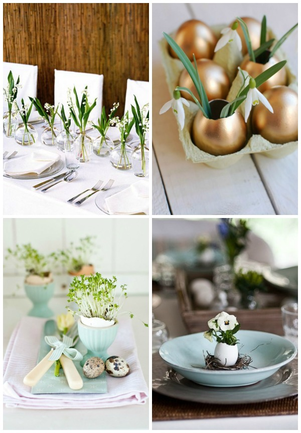 easter table collage
