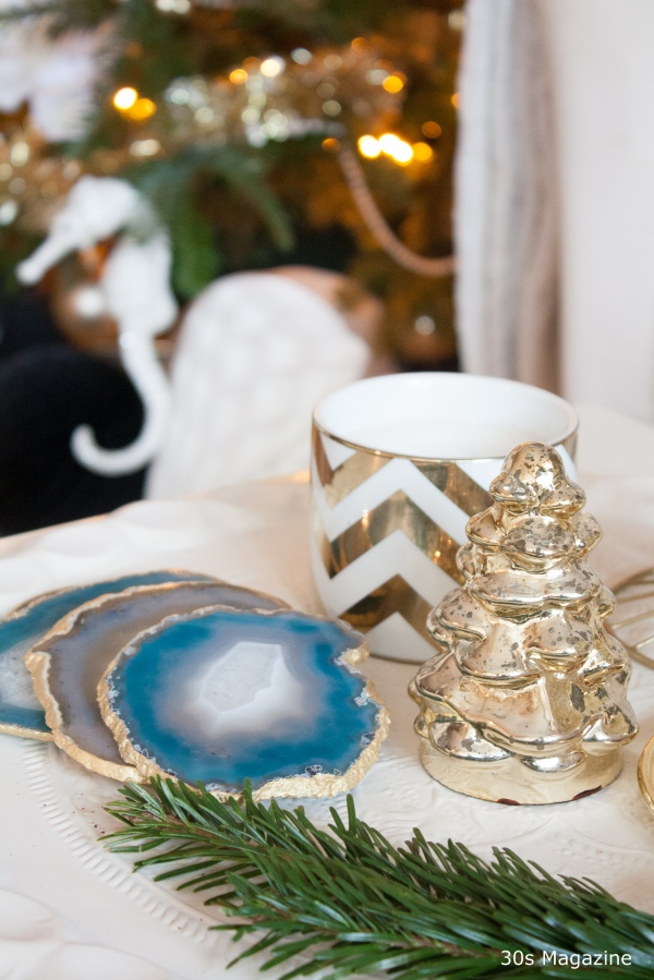 Christmas decor gold and white