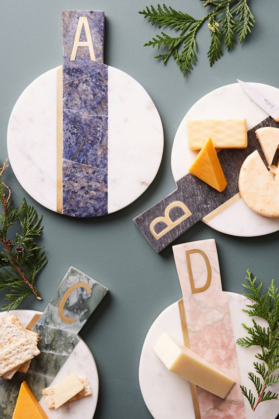 monogram marble cheese boards